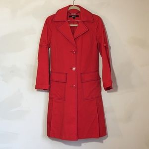 DKNY Coral and Beige Trench Coat with Belt